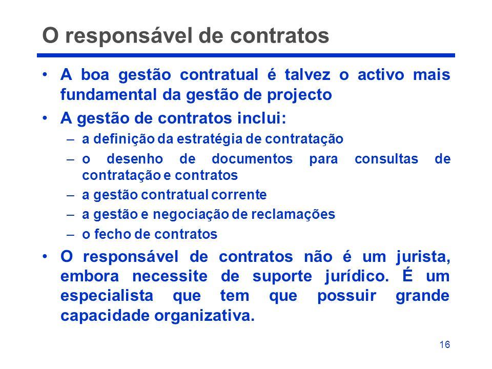 16 O responsável de contratos A boa gestão contratual é talvez o activo mais fundamental da gestão de projecto A gestão de contratos inclui: –a defini