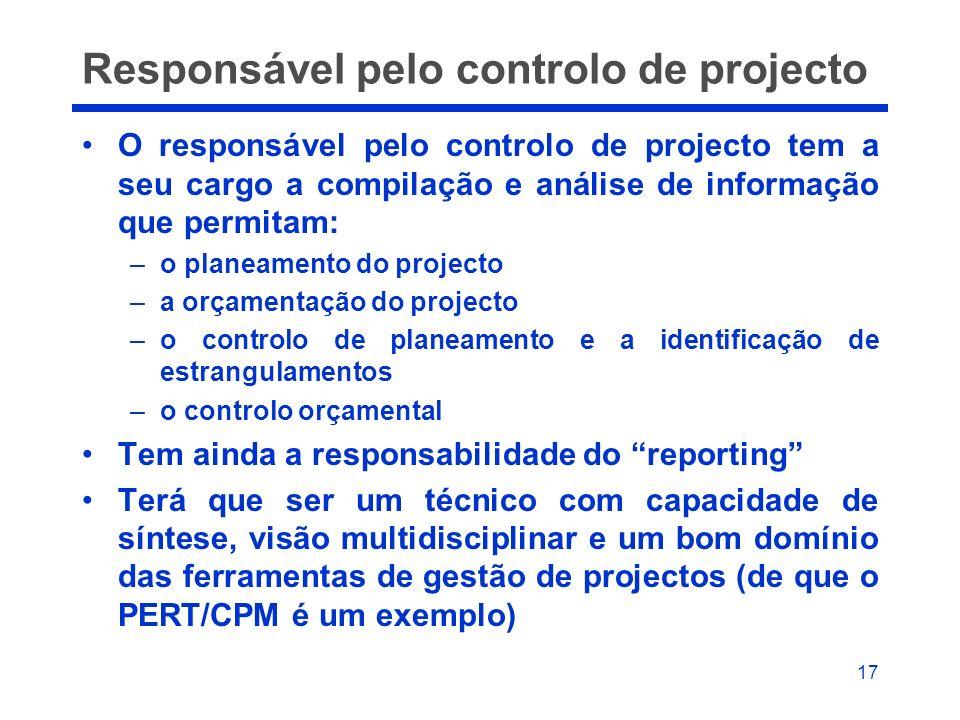 17 Responsável pelo controlo de projecto O responsável pelo controlo de projecto tem a seu cargo a compilação e análise de informação que permitam: –o