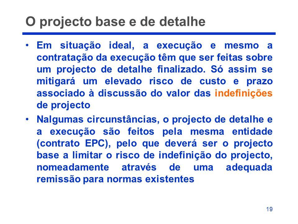 19 O projecto base e de detalhe Em situação ideal, a execução e mesmo a contratação da execução têm que ser feitas sobre um projecto de detalhe finali
