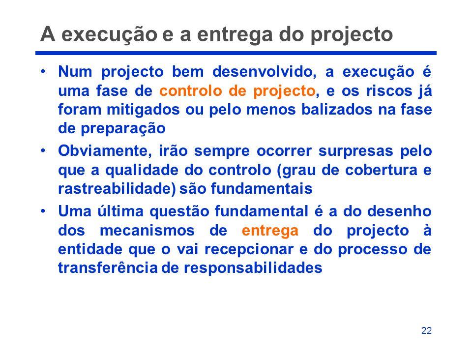 22 A execução e a entrega do projecto Num projecto bem desenvolvido, a execução é uma fase de controlo de projecto, e os riscos já foram mitigados ou