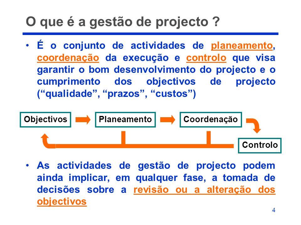 4 O que é a gestão de projecto ? É o conjunto de actividades de planeamento, coordenação da execução e controlo que visa garantir o bom desenvolviment