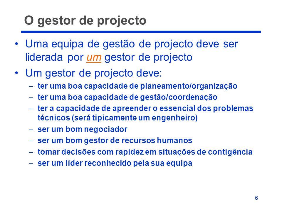 6 O gestor de projecto Uma equipa de gestão de projecto deve ser liderada por um gestor de projecto Um gestor de projecto deve: –ter uma boa capacidad