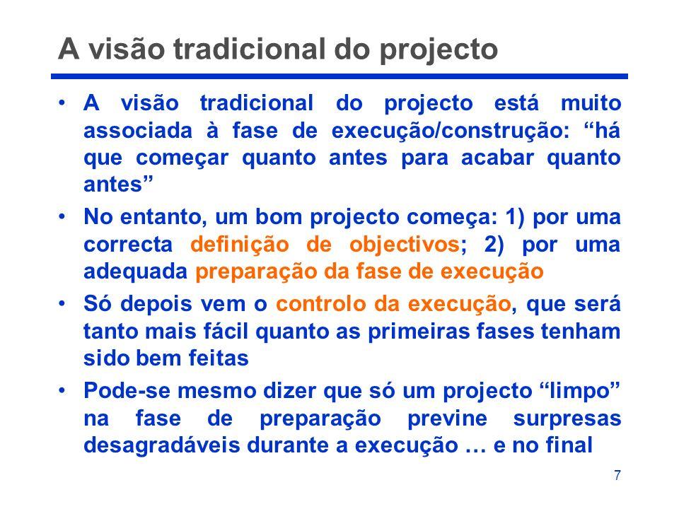 7 A visão tradicional do projecto A visão tradicional do projecto está muito associada à fase de execução/construção: há que começar quanto antes para