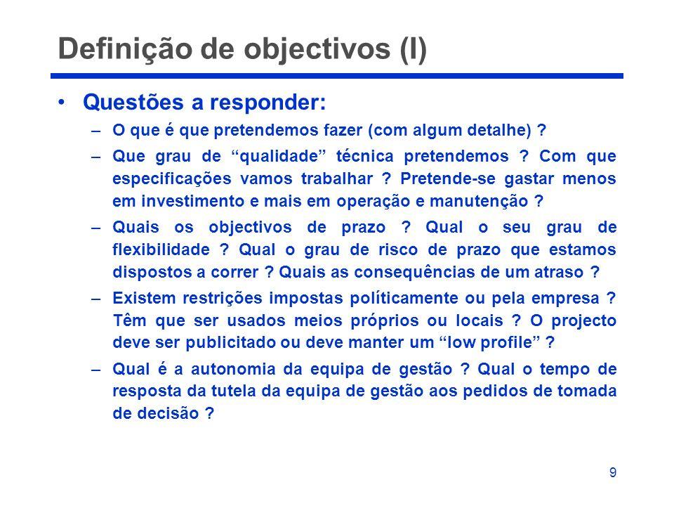 9 Definição de objectivos (I) Questões a responder: –O que é que pretendemos fazer (com algum detalhe) ? –Que grau de qualidade técnica pretendemos ?
