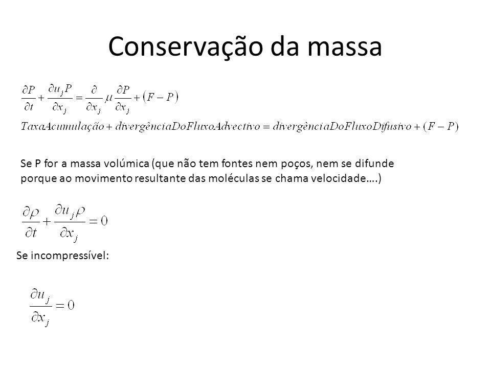 Conservação da massa Se P for a massa volúmica (que não tem fontes nem poços, nem se difunde porque ao movimento resultante das moléculas se chama vel