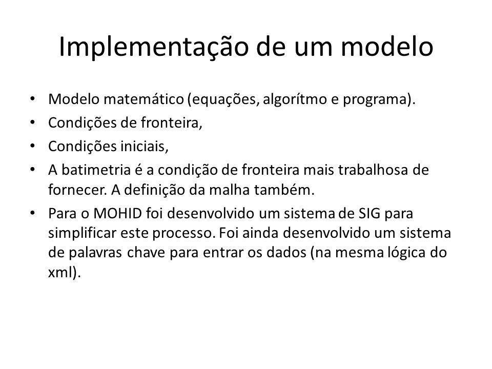 Implementação de um modelo Modelo matemático (equações, algorítmo e programa). Condições de fronteira, Condições iniciais, A batimetria é a condição d