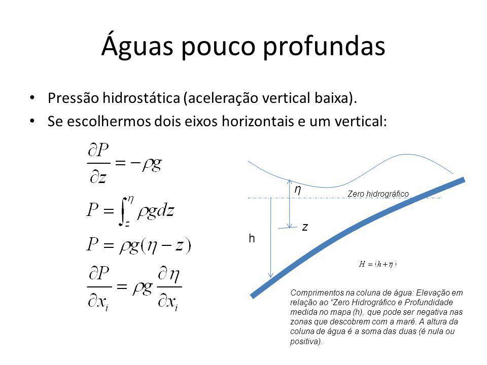 Águas pouco profundas Pressão hidrostática (aceleração vertical baixa). Se escolhermos dois eixos horizontais e um vertical: h η z Zero hidrográfico C