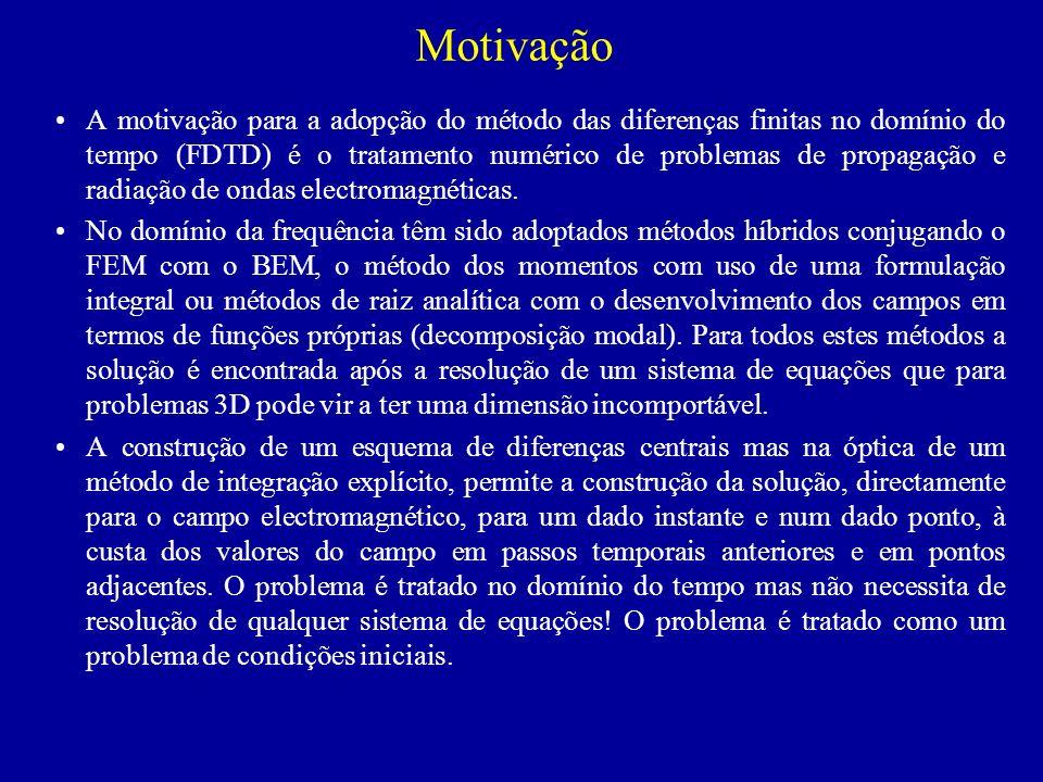 Motivação A motivação para a adopção do método das diferenças finitas no domínio do tempo (FDTD) é o tratamento numérico de problemas de propagação e