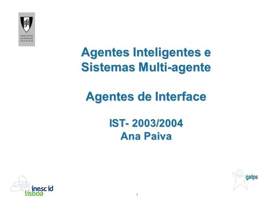 1 Agentes Inteligentes e Sistemas Multi-agente Agentes de Interface IST- 2003/2004 Ana Paiva