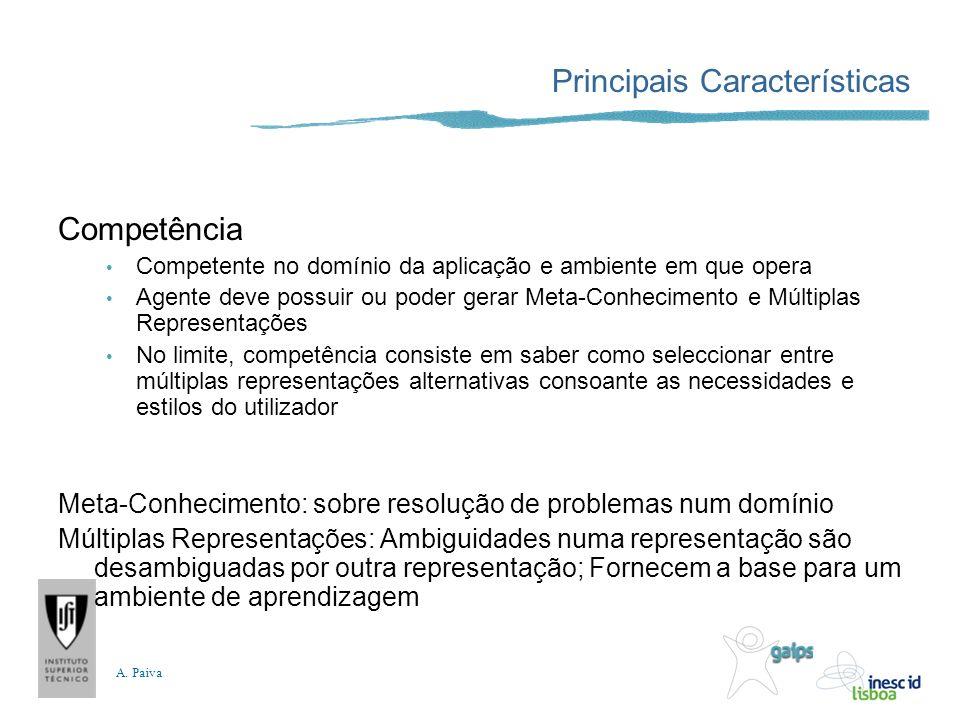 A. Paiva Principais Características Competência Competente no domínio da aplicação e ambiente em que opera Agente deve possuir ou poder gerar Meta-Con