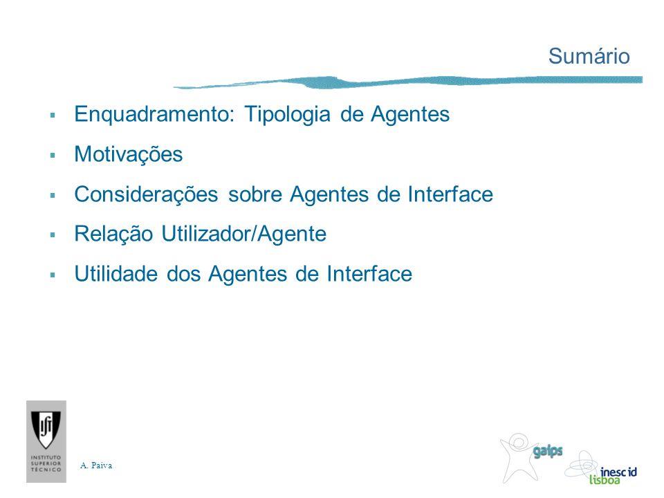 A. Paiva Sumário Enquadramento: Tipologia de Agentes Motivações Considerações sobre Agentes de Interface Relação Utilizador/Agente Utilidade dos Agent