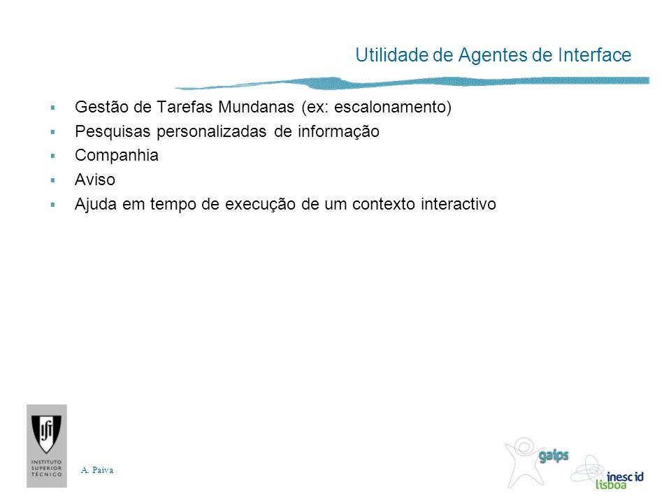A. Paiva Utilidade de Agentes de Interface Gestão de Tarefas Mundanas (ex: escalonamento) Pesquisas personalizadas de informação Companhia Aviso Ajuda