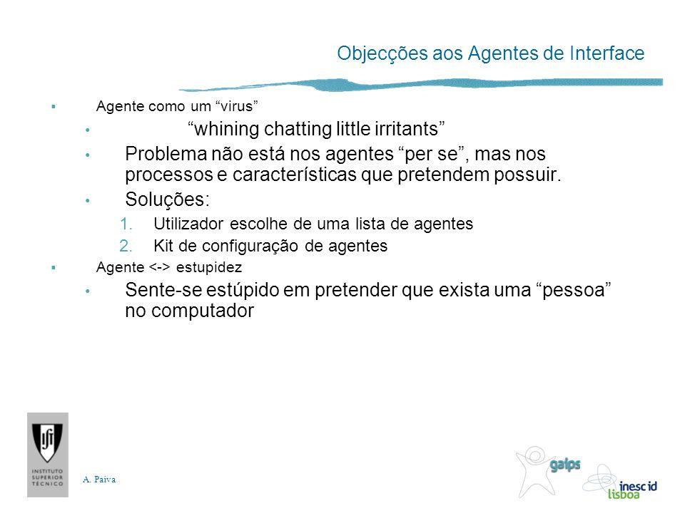 A. Paiva Objecções aos Agentes de Interface Agente como um virus whining chatting little irritants Problema não está nos agentes per se, mas nos proce