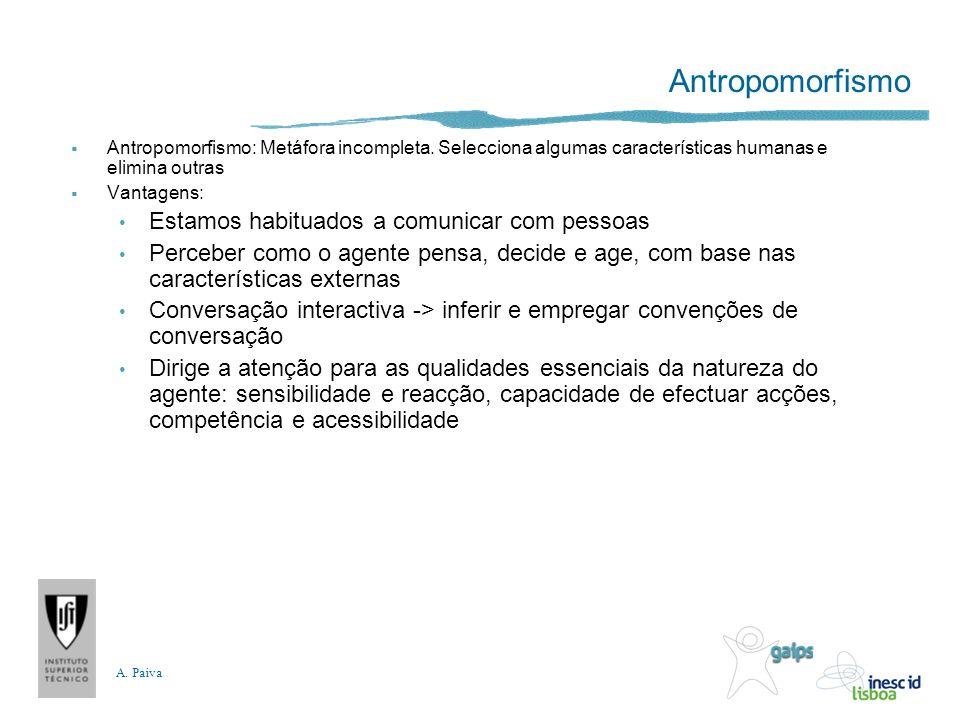 A. Paiva Antropomorfismo Antropomorfismo: Metáfora incompleta. Selecciona algumas características humanas e elimina outras Vantagens: Estamos habituad