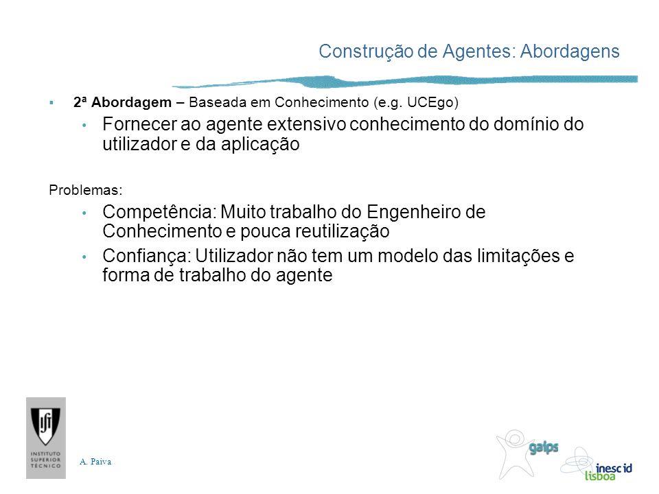 A. Paiva Construção de Agentes: Abordagens 2ª Abordagem – Baseada em Conhecimento (e.g. UCEgo) Fornecer ao agente extensivo conhecimento do domínio do