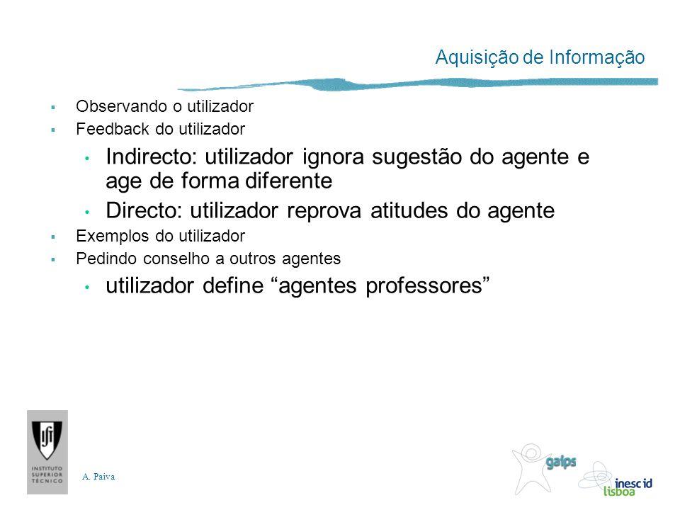 A. Paiva Aquisição de Informação Observando o utilizador Feedback do utilizador Indirecto: utilizador ignora sugestão do agente e age de forma diferen