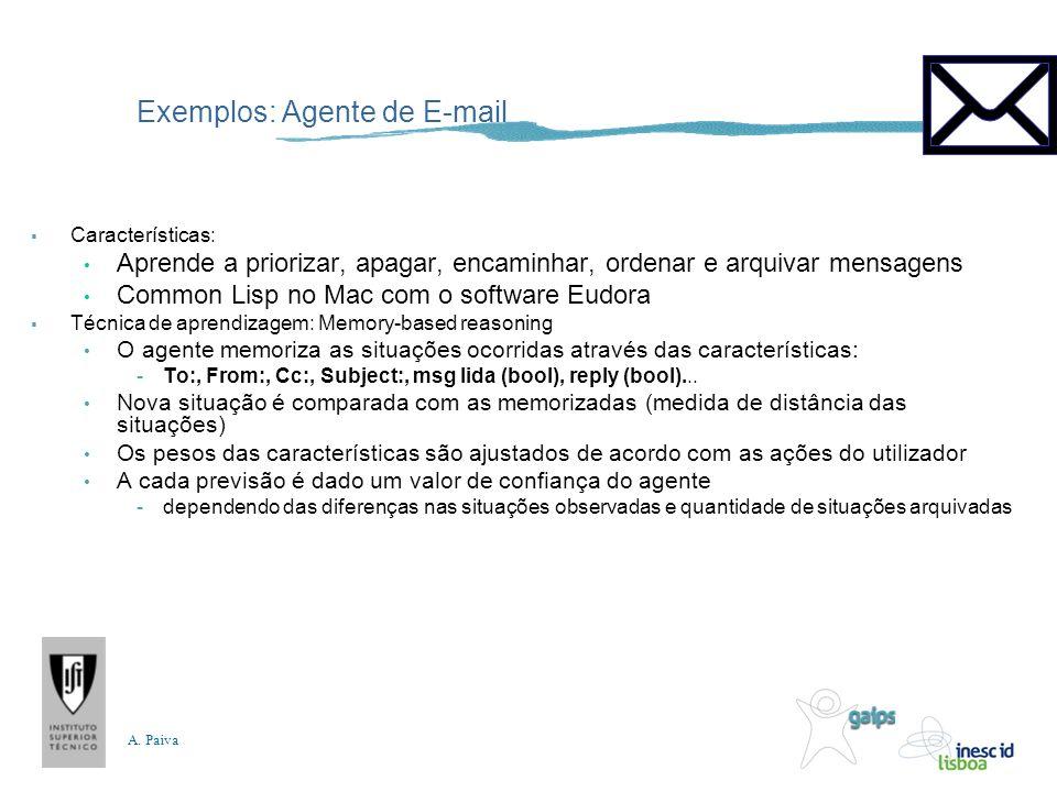 A. Paiva Exemplos: Agente de E-mail Características: Aprende a priorizar, apagar, encaminhar, ordenar e arquivar mensagens Common Lisp no Mac com o so