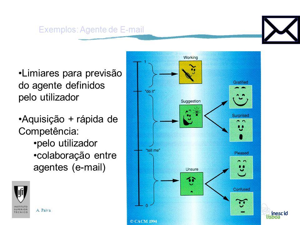 A. Paiva Exemplos: Agente de E-mail Limiares para previsão do agente definidos pelo utilizador Aquisição + rápida de Competência: pelo utilizador cola
