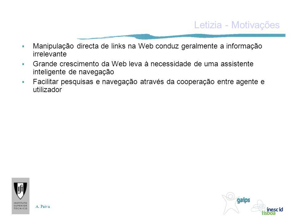 A. Paiva Letizia - Motivações Manipulação directa de links na Web conduz geralmente a informação irrelevante Grande crescimento da Web leva à necessid