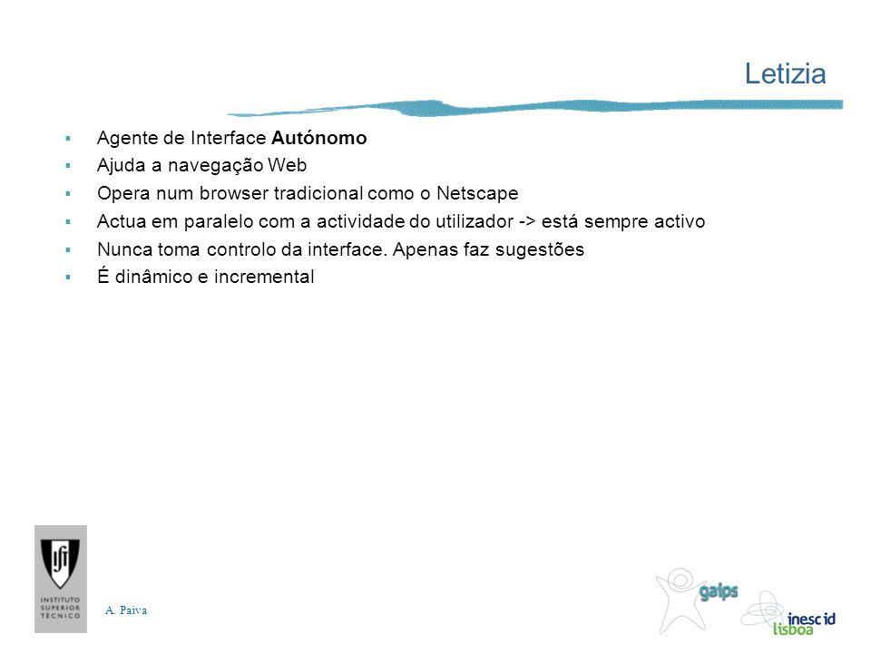 A. Paiva Letizia Agente de Interface Autónomo Ajuda a navegação Web Opera num browser tradicional como o Netscape Actua em paralelo com a actividade d