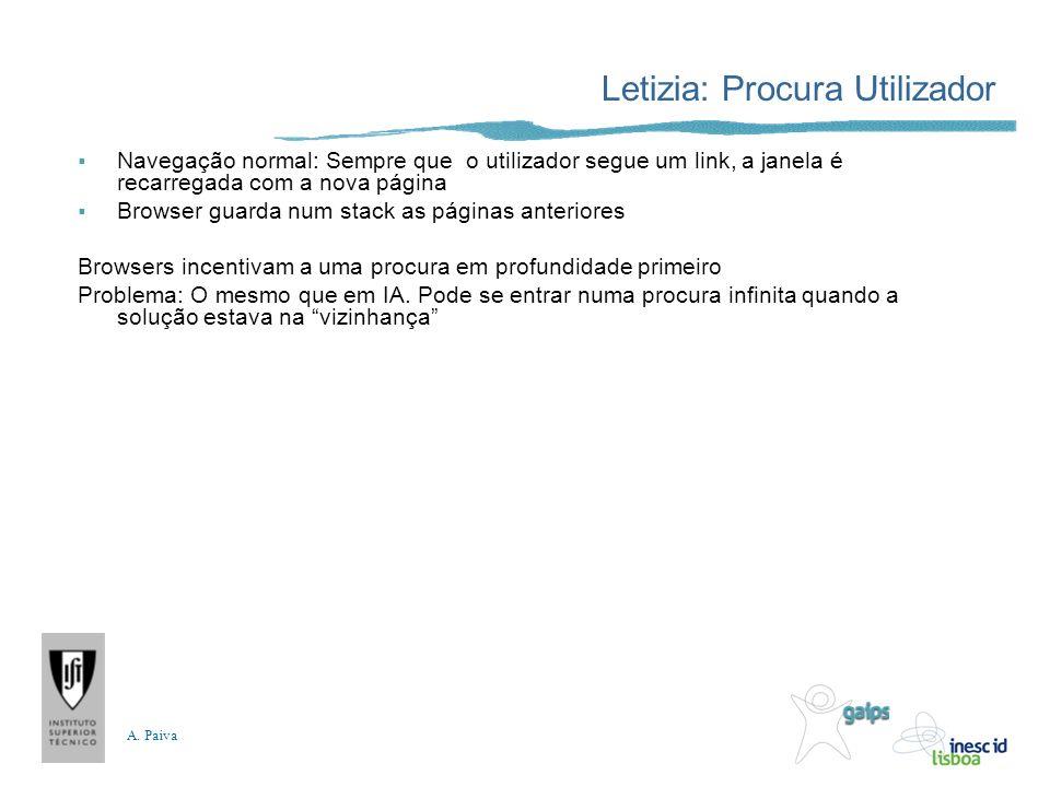 A. Paiva Letizia: Procura Utilizador Navegação normal: Sempre que o utilizador segue um link, a janela é recarregada com a nova página Browser guarda