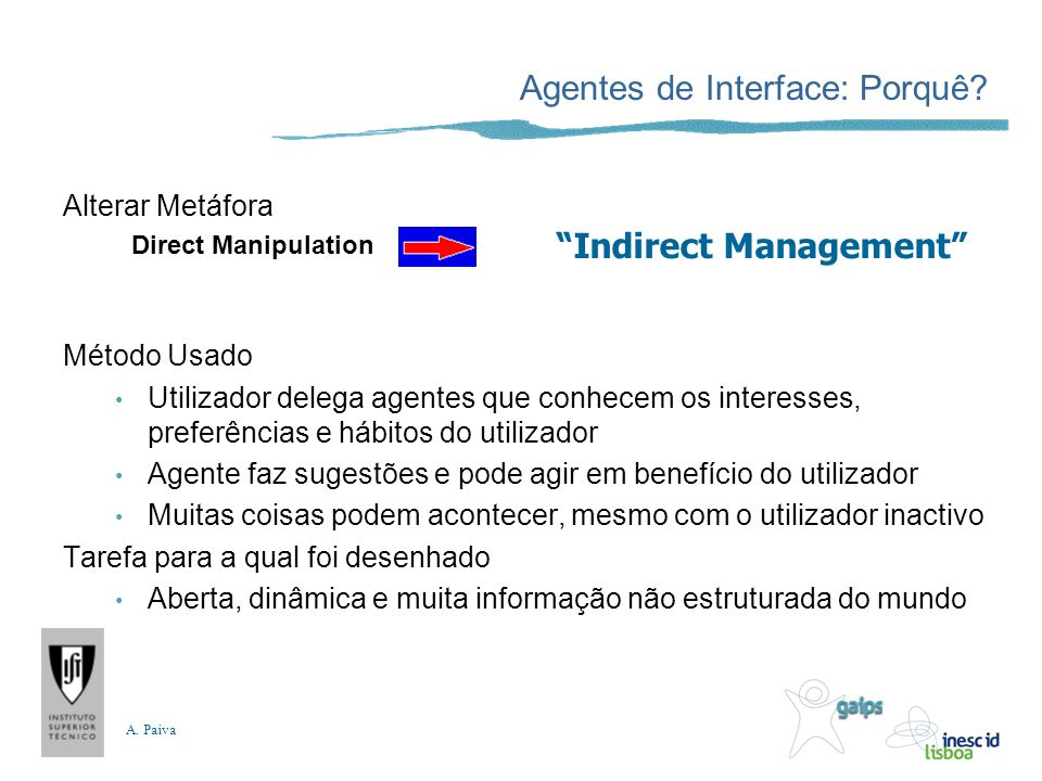 A.Paiva Agente Interface = Interface.