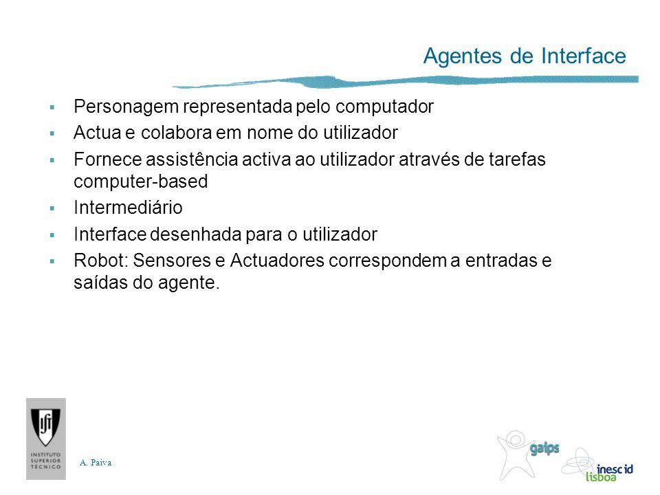 A. Paiva Agentes de Interface Personagem representada pelo computador Actua e colabora em nome do utilizador Fornece assistência activa ao utilizador