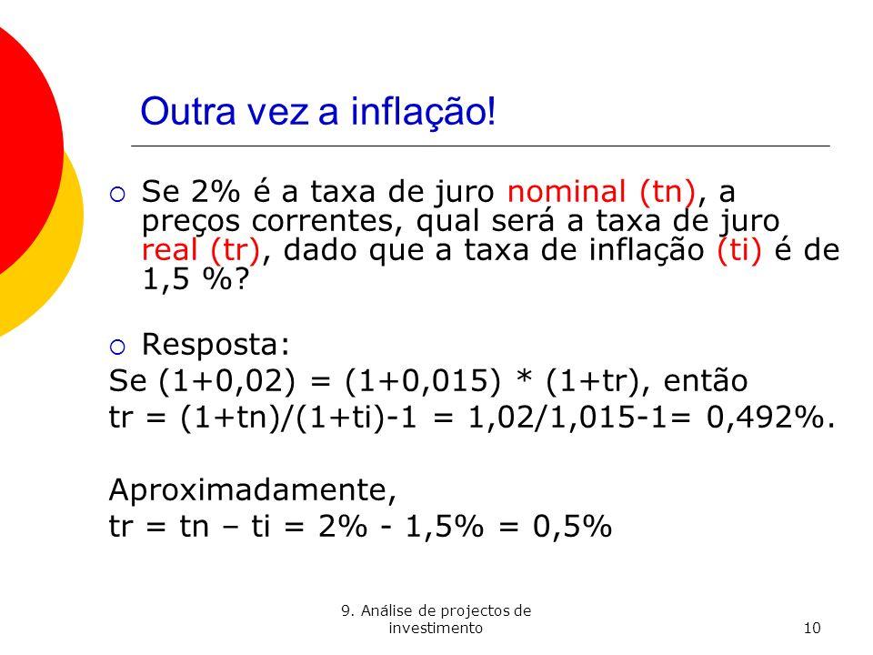 9. Análise de projectos de investimento10 Outra vez a inflação! Se 2% é a taxa de juro nominal (tn), a preços correntes, qual será a taxa de juro real