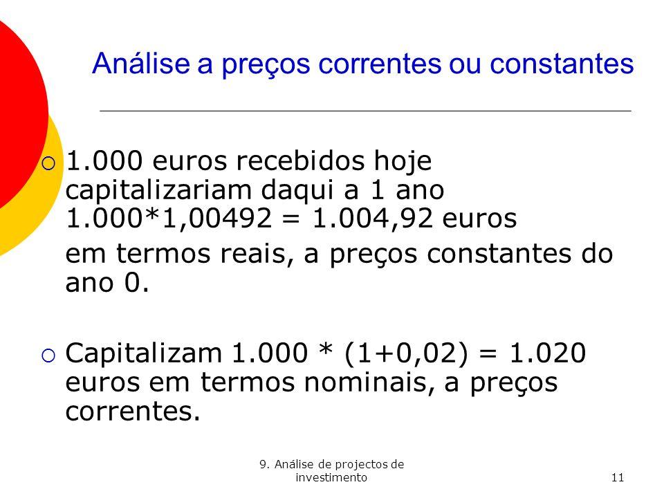 9. Análise de projectos de investimento11 Análise a preços correntes ou constantes 1.000 euros recebidos hoje capitalizariam daqui a 1 ano 1.000*1,004