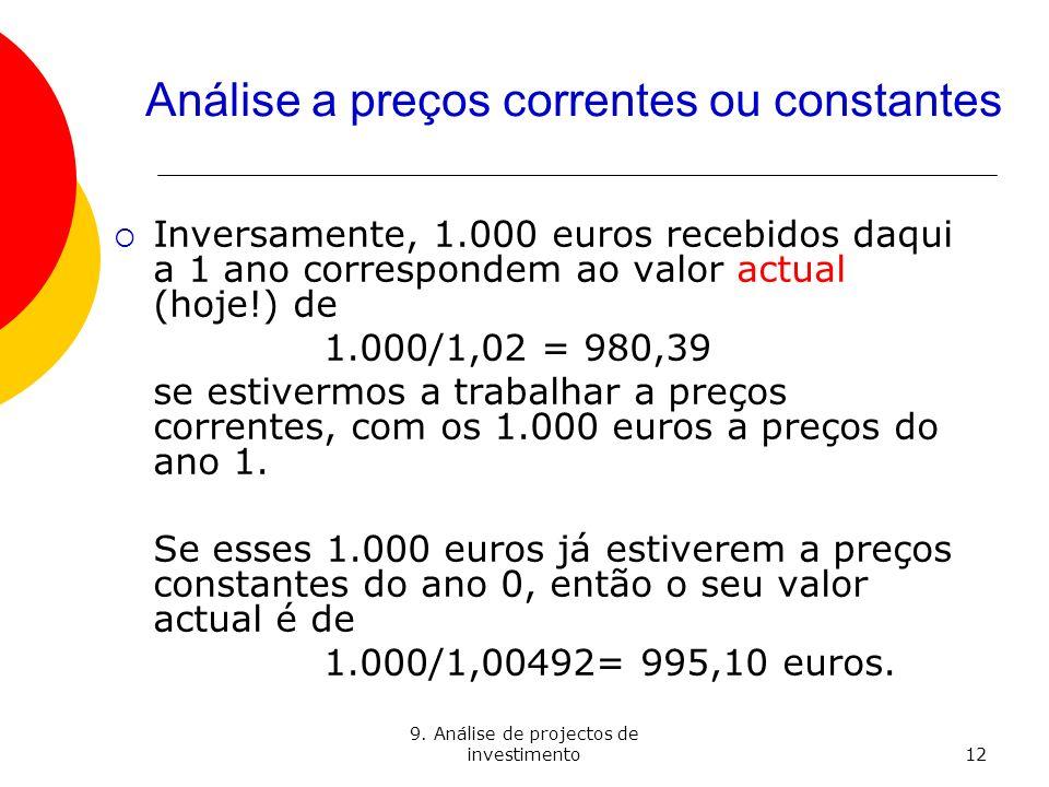 9. Análise de projectos de investimento12 Análise a preços correntes ou constantes Inversamente, 1.000 euros recebidos daqui a 1 ano correspondem ao v