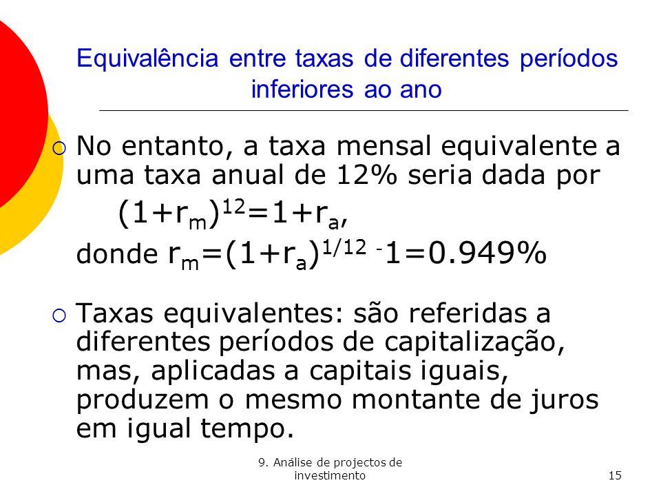 9. Análise de projectos de investimento15 Equivalência entre taxas de diferentes períodos inferiores ao ano No entanto, a taxa mensal equivalente a um