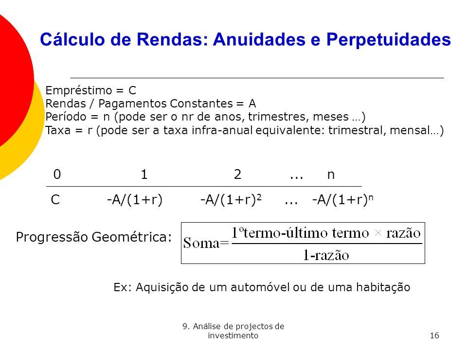 9. Análise de projectos de investimento16 Cálculo de Rendas: Anuidades e Perpetuidades 012...n C -A/(1+r) -A/(1+r) 2... -A/(1+r) n Empréstimo = C Rend