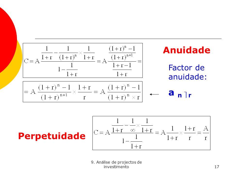 9. Análise de projectos de investimento17 Anuidade Perpetuidade Factor de anuidade: a n r