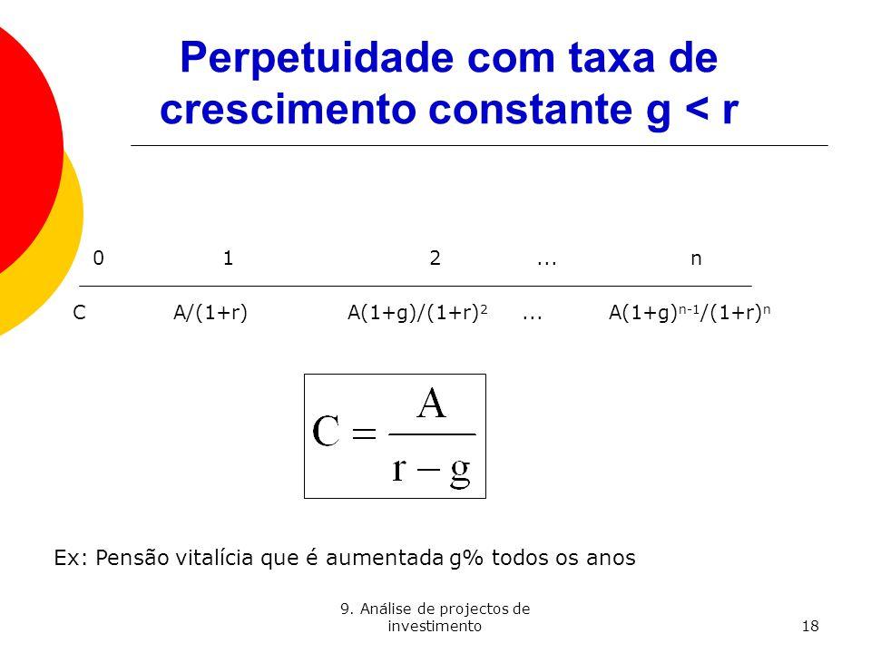 9. Análise de projectos de investimento18 Perpetuidade com taxa de crescimento constante g < r 0 12...n C A/(1+r) A(1+g)/(1+r) 2... A(1+g) n-1 /(1+r)