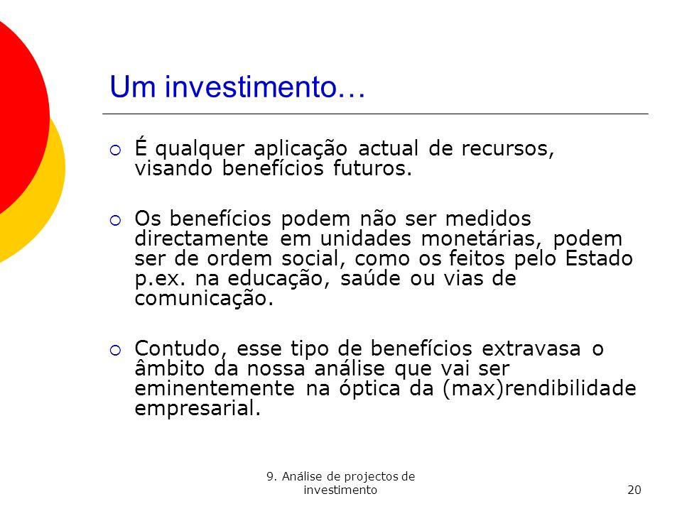 9. Análise de projectos de investimento20 Um investimento… É qualquer aplicação actual de recursos, visando benefícios futuros. Os benefícios podem nã
