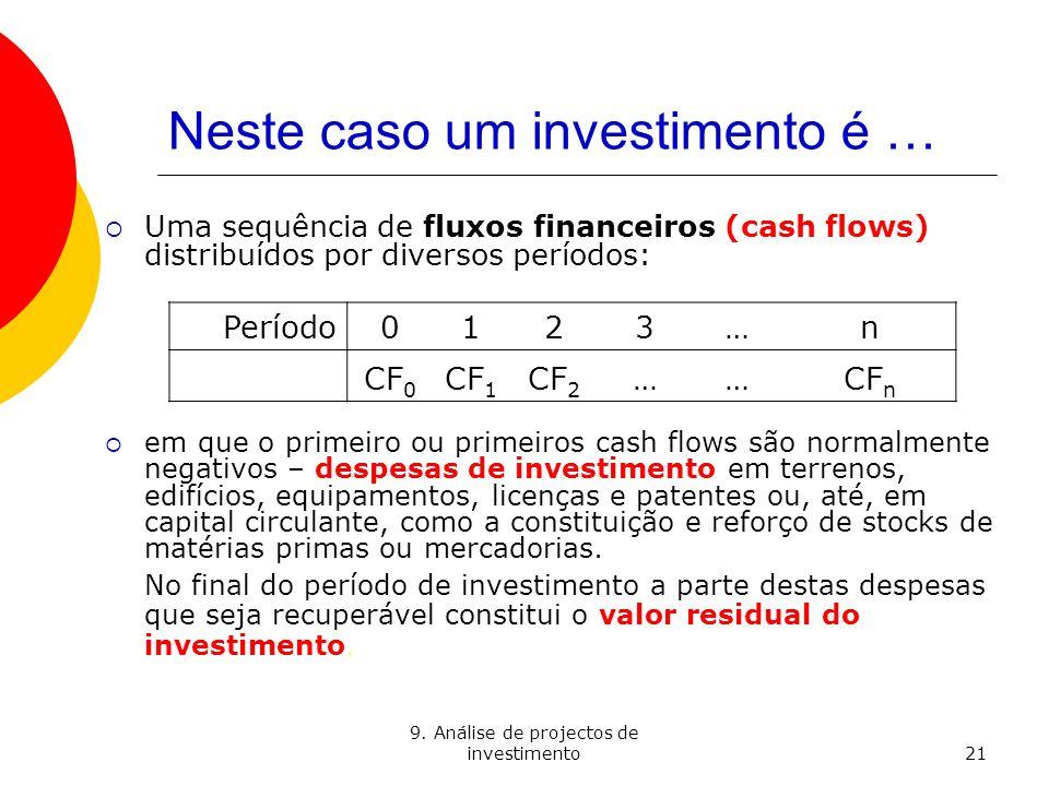 9. Análise de projectos de investimento21 Neste caso um investimento é … Uma sequência de fluxos financeiros (cash flows) distribuídos por diversos pe