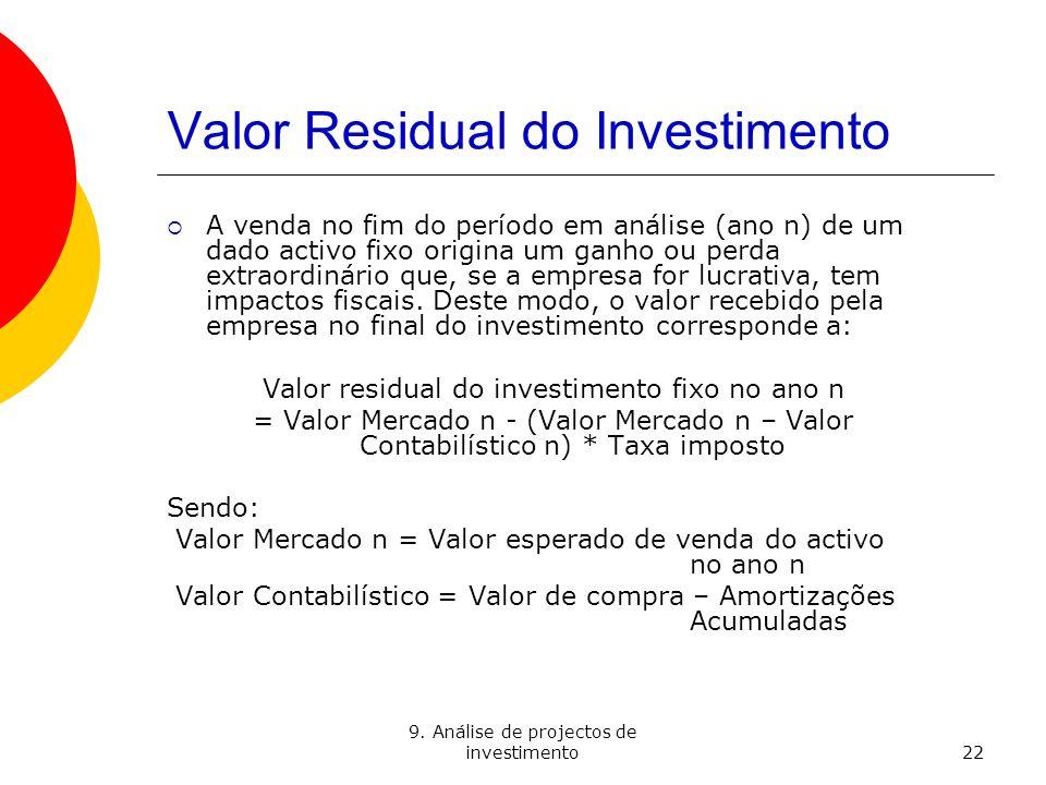 9. Análise de projectos de investimento22 Valor Residual do Investimento A venda no fim do período em análise (ano n) de um dado activo fixo origina u