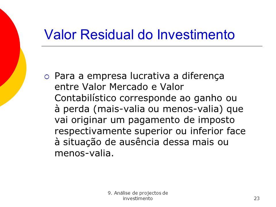 9. Análise de projectos de investimento23 Valor Residual do Investimento Para a empresa lucrativa a diferença entre Valor Mercado e Valor Contabilísti