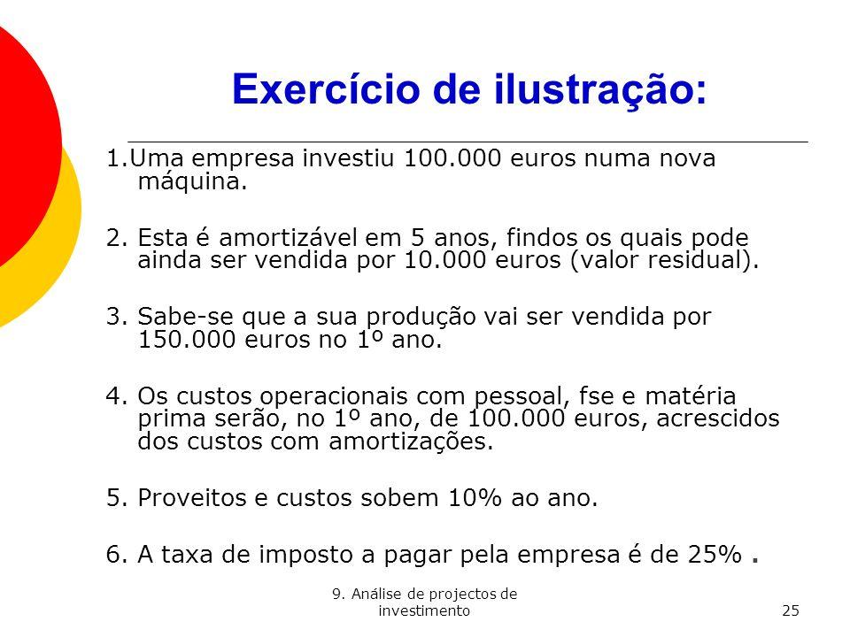 9. Análise de projectos de investimento25 Exercício de ilustração: 1.Uma empresa investiu 100.000 euros numa nova máquina. 2. Esta é amortizável em 5