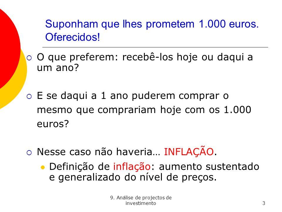 9. Análise de projectos de investimento3 Suponham que lhes prometem 1.000 euros. Oferecidos! O que preferem: recebê-los hoje ou daqui a um ano? E se d