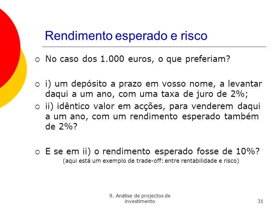 9. Análise de projectos de investimento31 Rendimento esperado e risco No caso dos 1.000 euros, o que preferiam? i) um depósito a prazo em vosso nome,