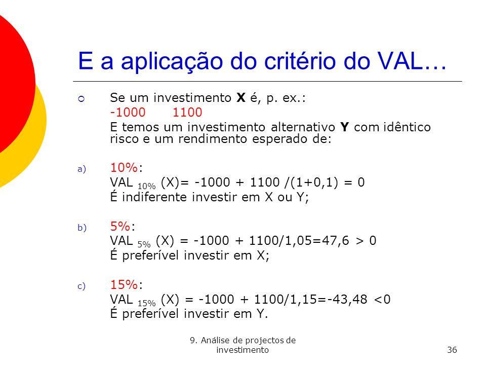 9. Análise de projectos de investimento36 E a aplicação do critério do VAL… Se um investimento X é, p. ex.: -1000 1100 E temos um investimento alterna