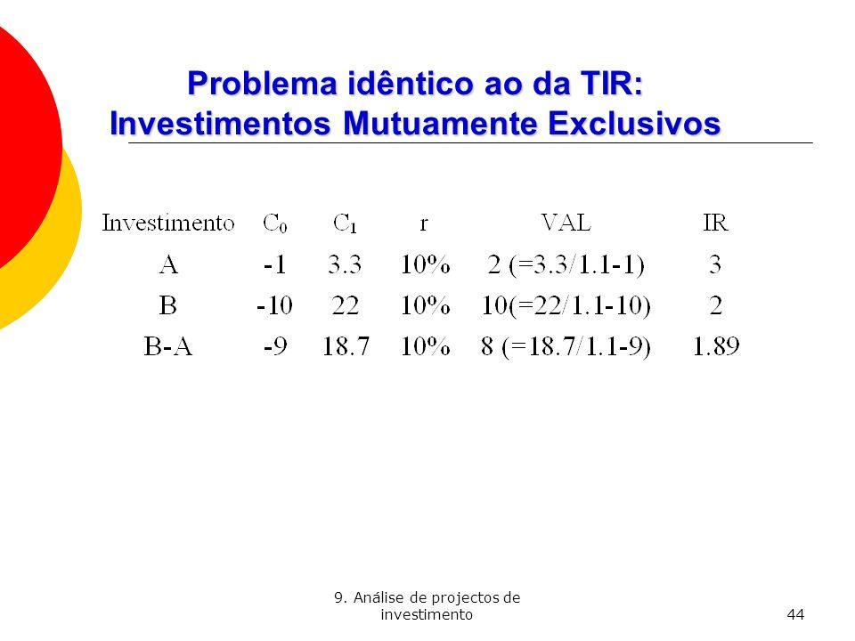 9. Análise de projectos de investimento44 Problema idêntico ao da TIR: Investimentos Mutuamente Exclusivos