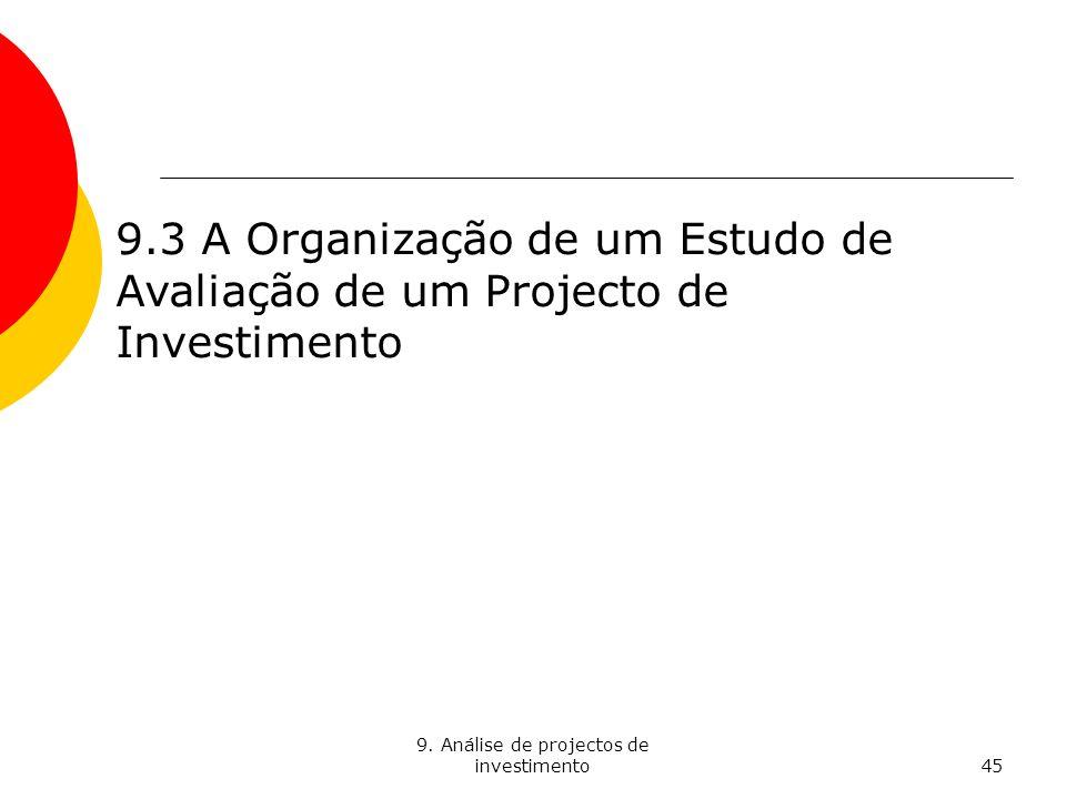 9. Análise de projectos de investimento45 9.3 A Organização de um Estudo de Avaliação de um Projecto de Investimento