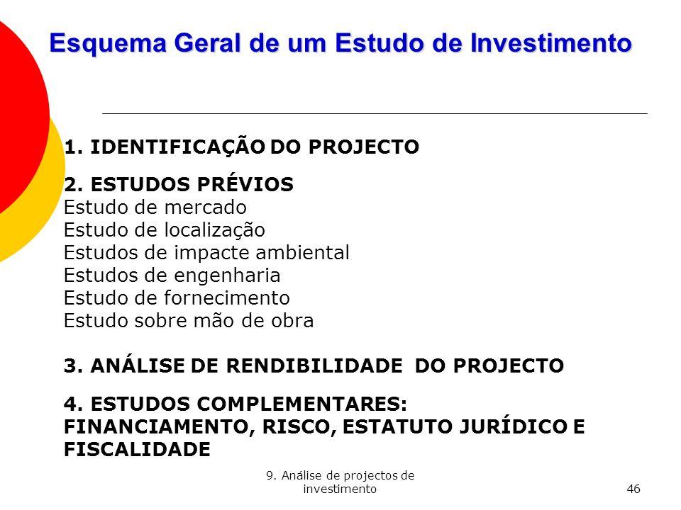 9. Análise de projectos de investimento46 Esquema Geral de um Estudo de Investimento 1. IDENTIFICAÇÃO DO PROJECTO 2. ESTUDOS PRÉVIOS Estudo de mercado