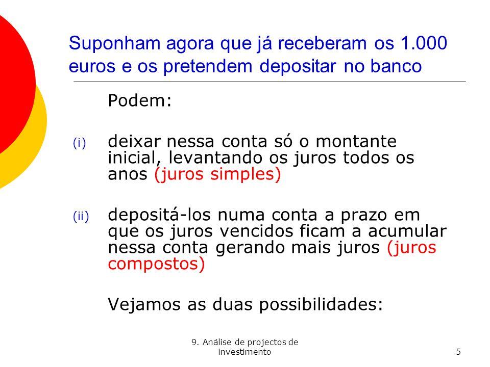 9. Análise de projectos de investimento5 Suponham agora que já receberam os 1.000 euros e os pretendem depositar no banco Podem: (i) deixar nessa cont