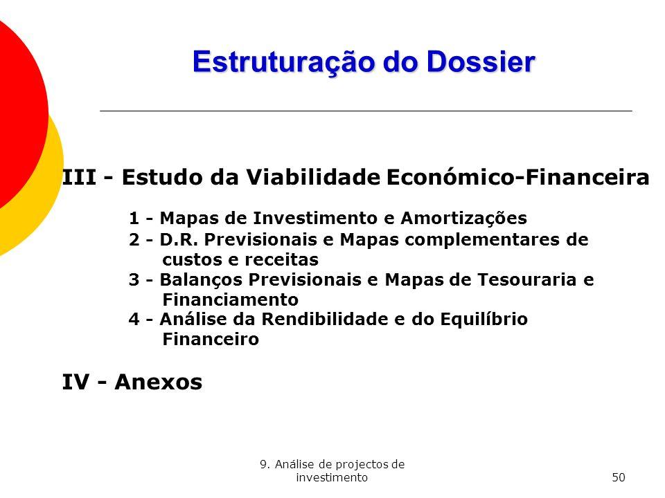 9. Análise de projectos de investimento50 Estruturação do Dossier III - Estudo da Viabilidade Económico-Financeira 1 - Mapas de Investimento e Amortiz