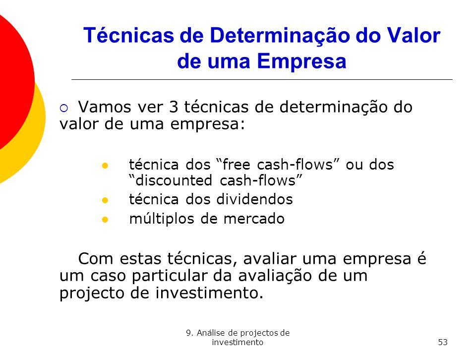 9. Análise de projectos de investimento53 Técnicas de Determinação do Valor de uma Empresa Vamos ver 3 técnicas de determinação do valor de uma empres