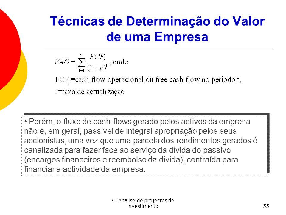 9. Análise de projectos de investimento55 Técnicas de Determinação do Valor de uma Empresa Porém, o fluxo de cash-flows gerado pelos activos da empres