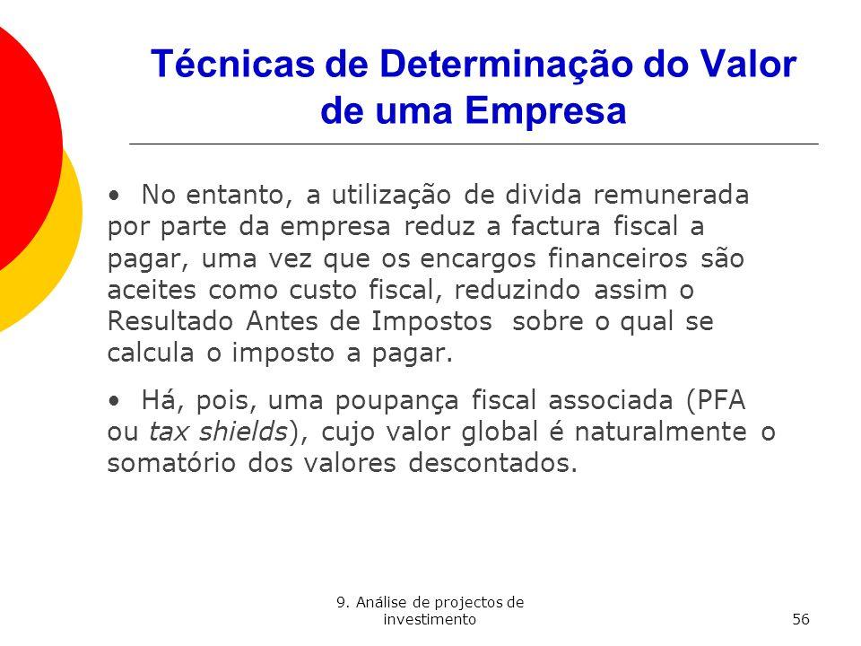 9. Análise de projectos de investimento56 Técnicas de Determinação do Valor de uma Empresa No entanto, a utilização de divida remunerada por parte da